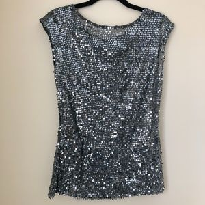 The Limited Gray Sequin Short Sleeve Top
